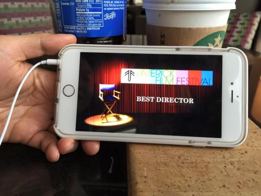 Live stream of the awards show from Limerick on Cashell Horgan's phone in Texas